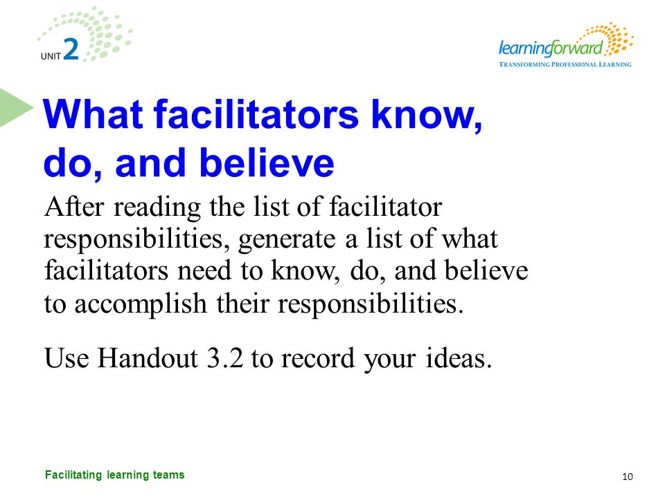 After reading the list of facilitator responsibilities, generate a list of what facilitators need to know, do, and believe to accomplish their respons