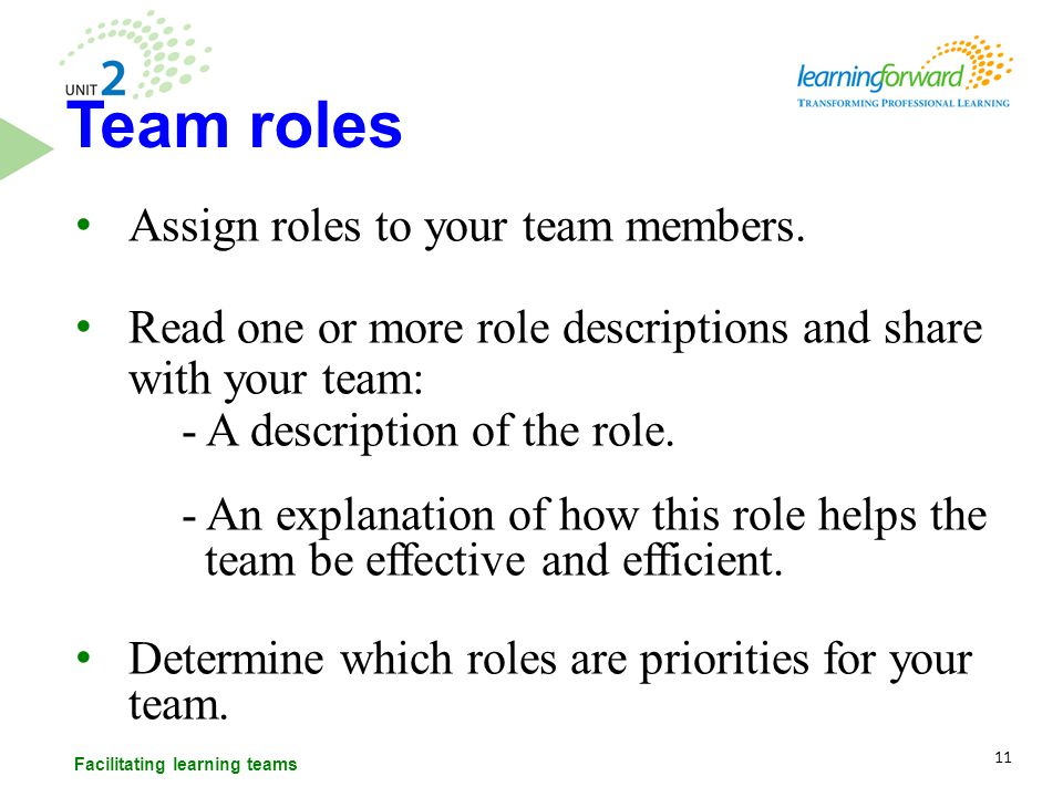 Assign roles to your team members. Read one or more role descriptions and share with your team: - A description of the role. - An explanation of how t