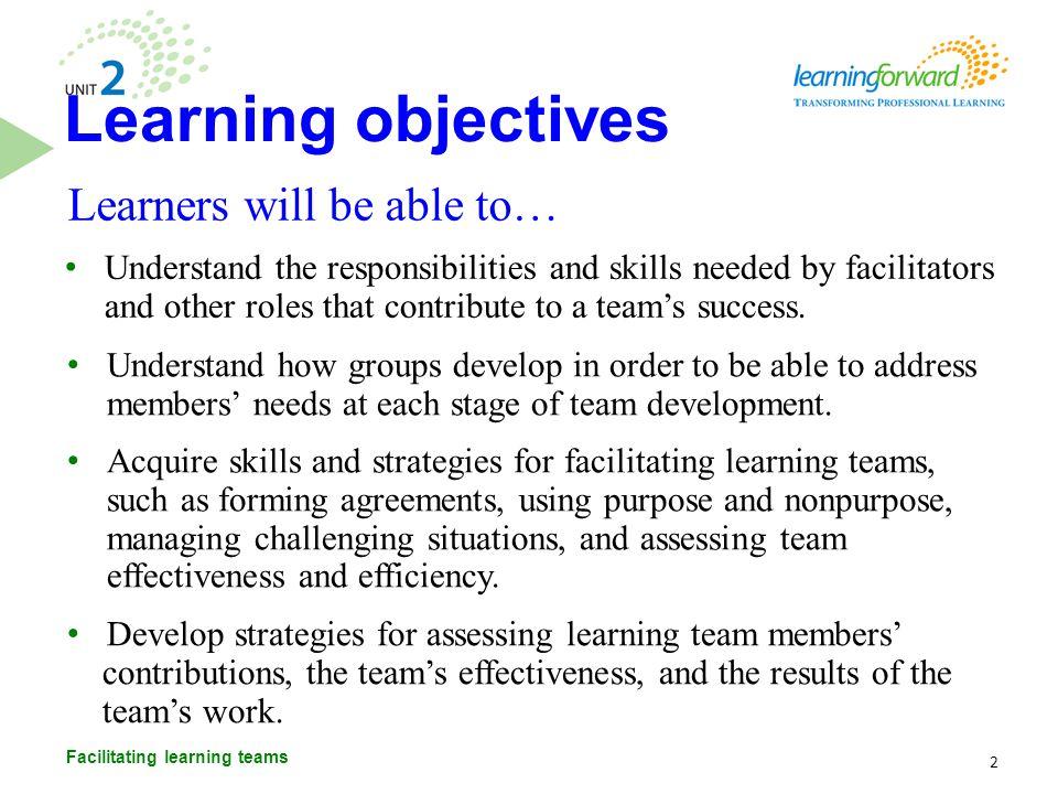 Agenda 3 Facilitating learning teams