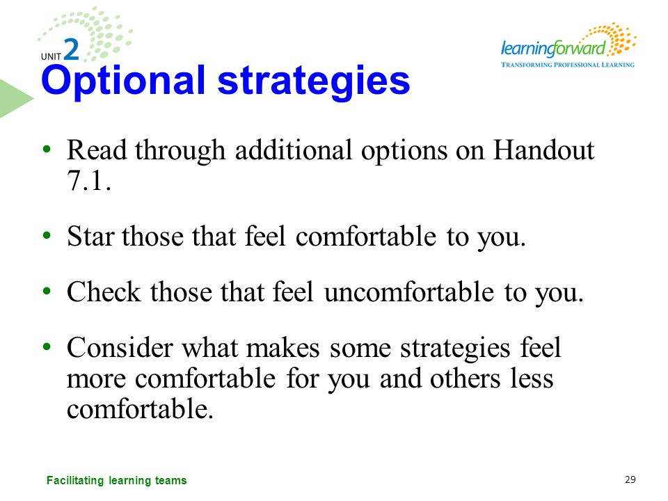 Read through additional options on Handout 7.1. Star those that feel comfortable to you. Check those that feel uncomfortable to you. Consider what mak