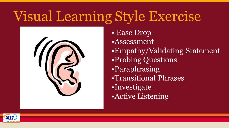 Visual Learning Style Exercise Ease Drop Assessment Empathy/Validating Statement Probing Questions Paraphrasing Transitional Phrases Investigate Active Listening