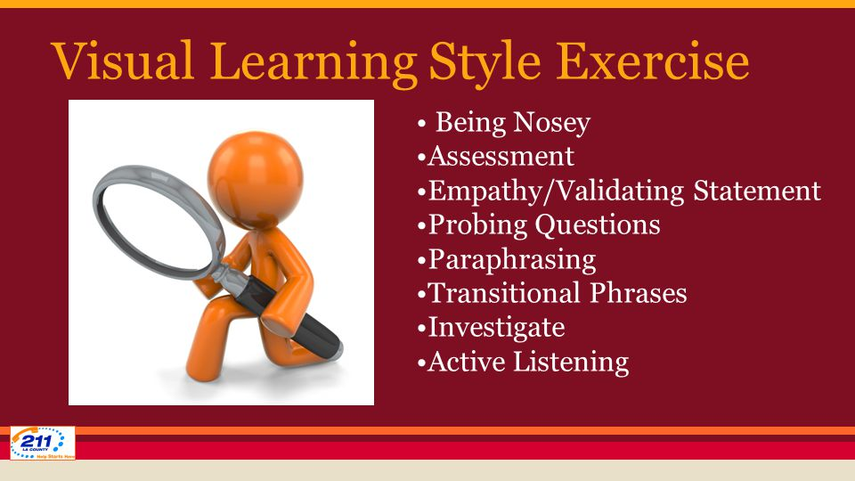 Visual Learning Style Exercise Being Nosey Assessment Empathy/Validating Statement Probing Questions Paraphrasing Transitional Phrases Investigate Active Listening