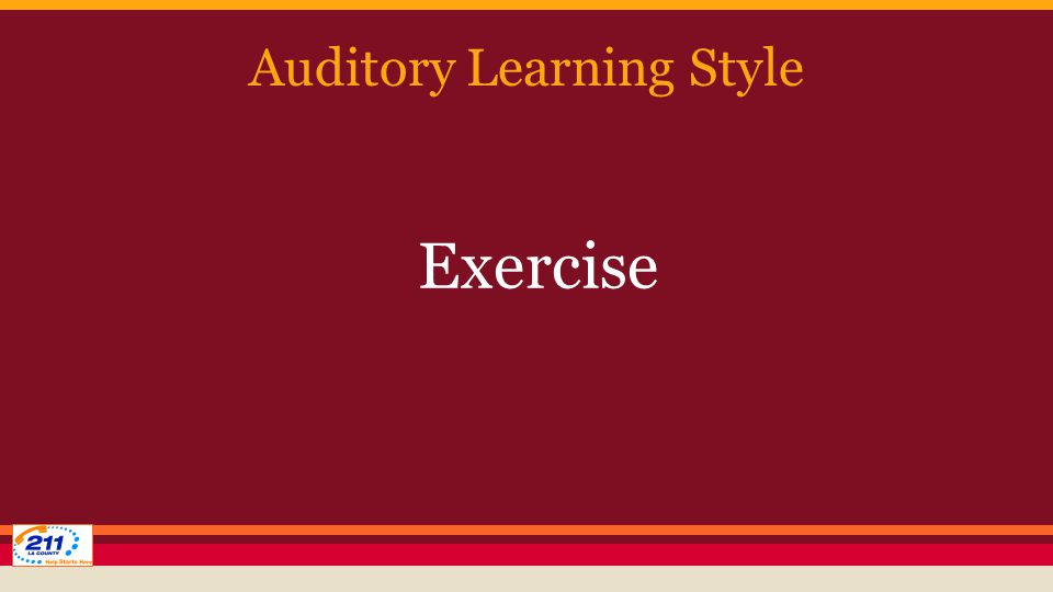 Auditory Learning Style Exercise