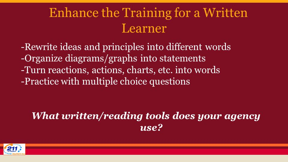 Enhance the Training for a Written Learner -Rewrite ideas and principles into different words -Organize diagrams/graphs into statements -Turn reactions, actions, charts, etc.