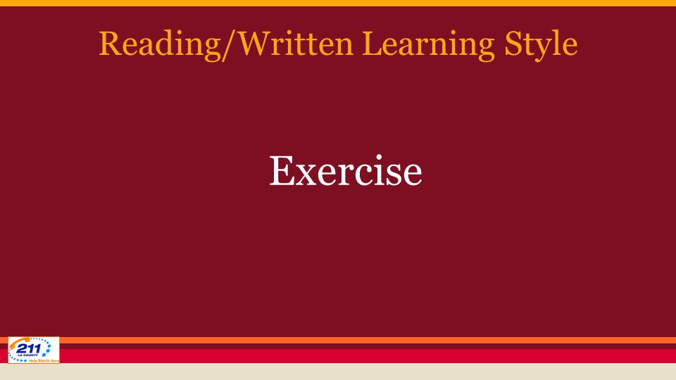 Reading/Written Learning Style Exercise