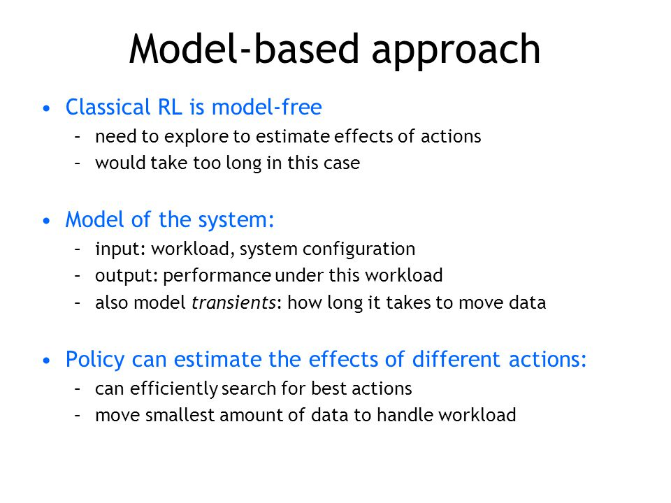 Model-based approach Classical RL is model-free –need to explore to estimate effects of actions –would take too long in this case Model of the system: