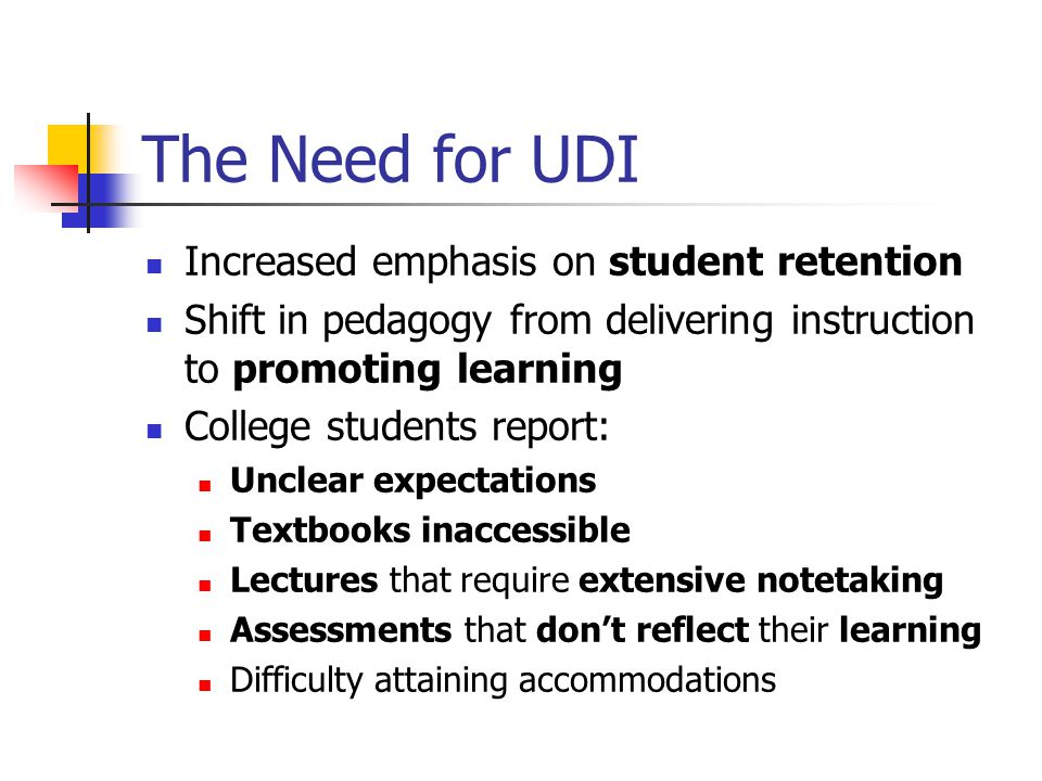 The Need for UDI Increased emphasis on student retention Shift in pedagogy from delivering instruction to promoting learning College students report: