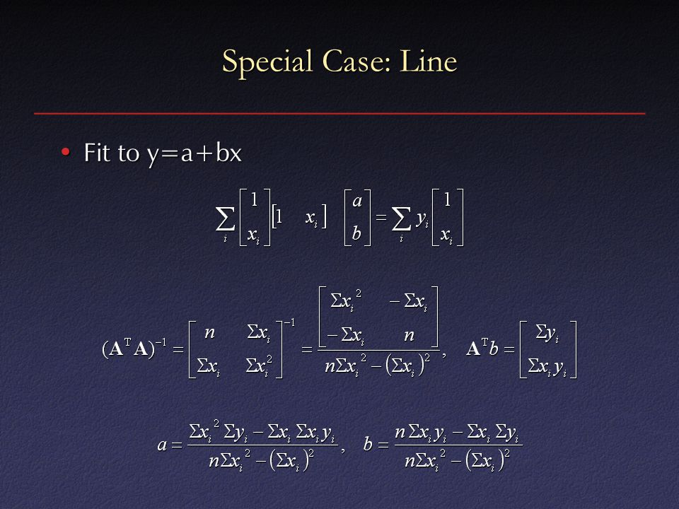 Special Case: Line Fit to y=a+bxFit to y=a+bx