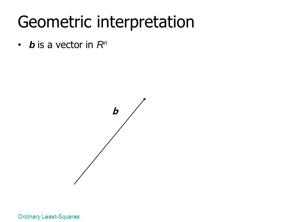 Ordinary Least-Squares Geometric interpretation b is a vector in R n