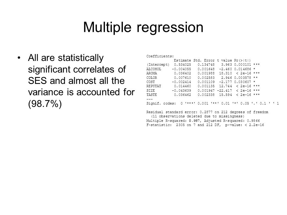 Multiple regression All are statistically significant correlates of SES and almost all the variance is accounted for (98.7%) Coefficients: Estimate Std.