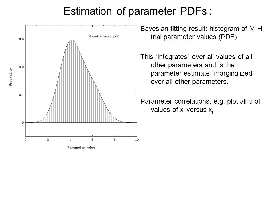 Estimation of parameter PDFs : Bayesian fitting result: histogram of M-H trial parameter values (PDF) This integrates over all values of all other parameters and is the parameter estimate marginalized over all other parameters.
