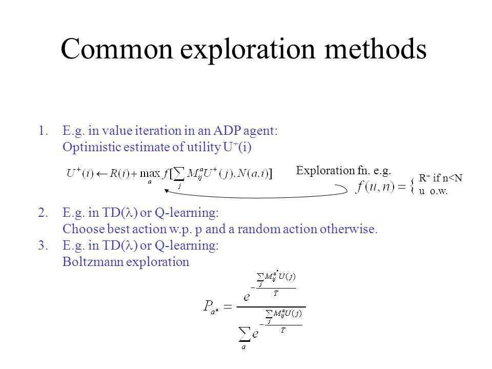 Common exploration methods 1.E.g.