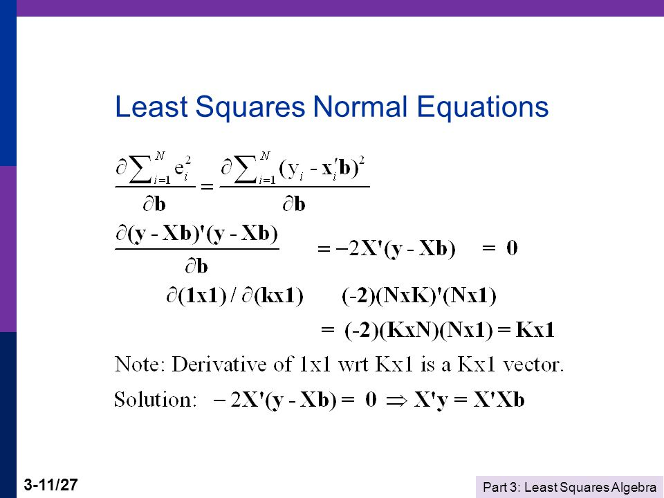 Part 3: Least Squares Algebra 3-11/27 Least Squares Normal Equations
