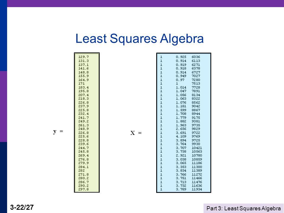 Part 3: Least Squares Algebra 3-22/27 Least Squares Algebra