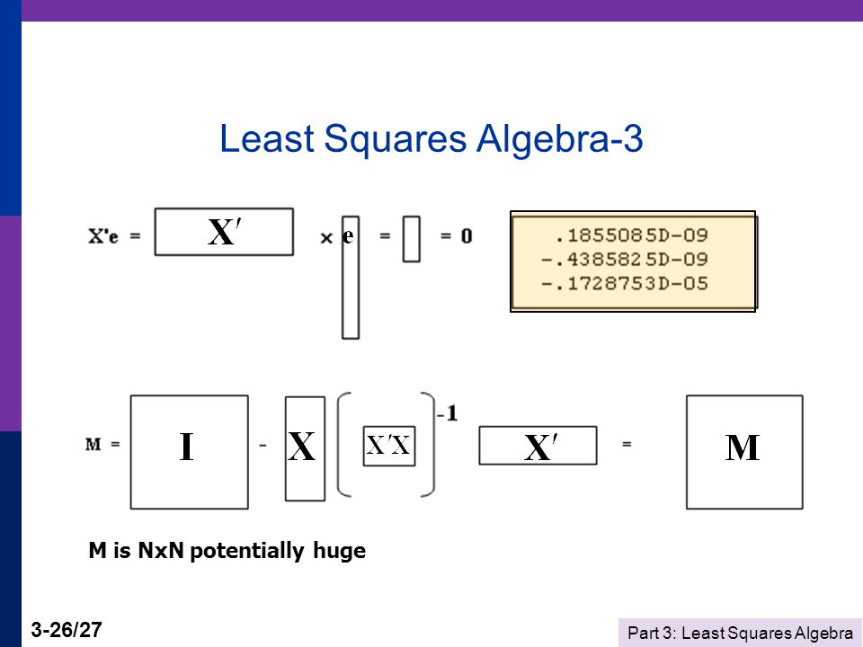 Part 3: Least Squares Algebra 3-26/27 Least Squares Algebra-3 M is NxN potentially huge