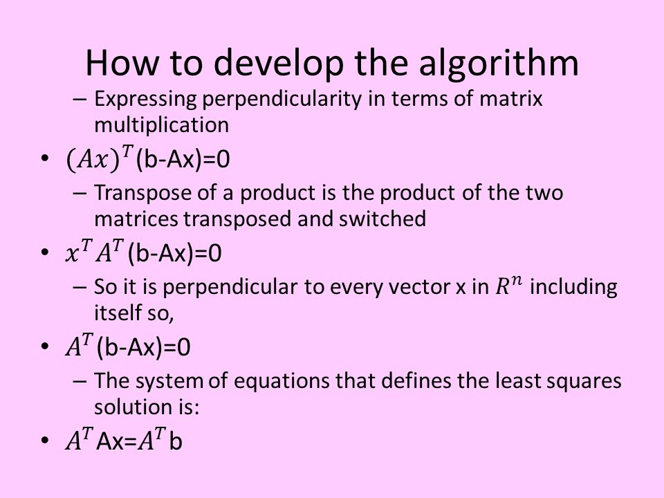 How to develop the algorithm