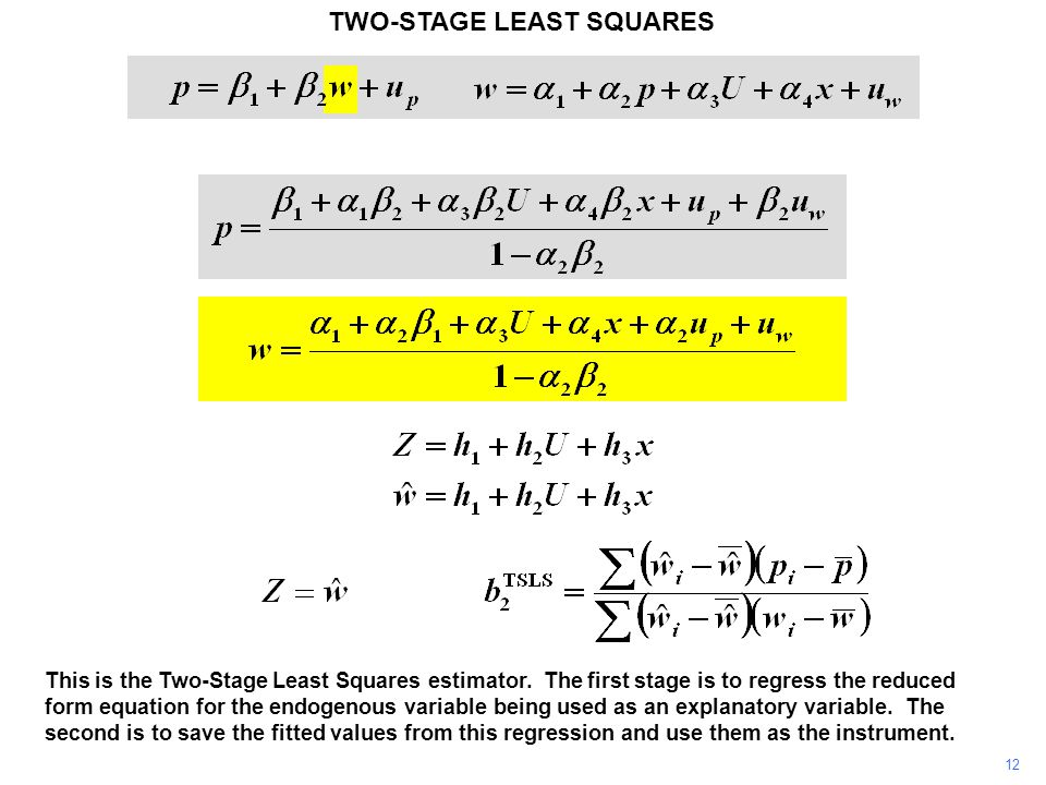 12 This is the Two-Stage Least Squares estimator.