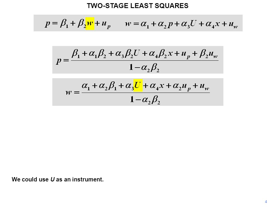 4 We could use U as an instrument. TWO-STAGE LEAST SQUARES