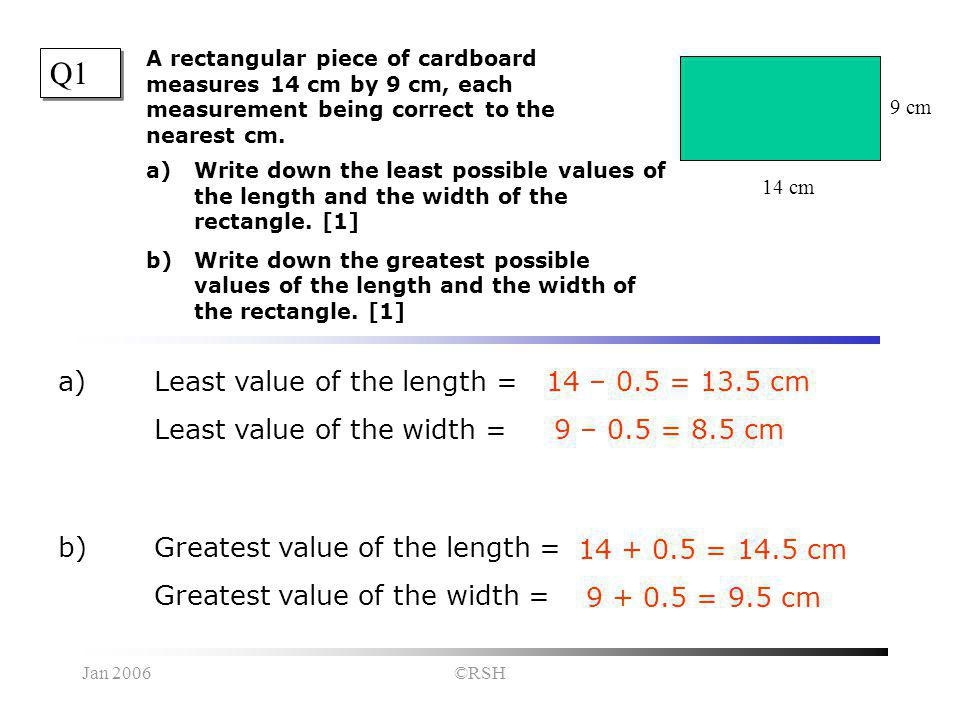 Jan 2006©RSH Q1 a)Write down the least possible values of the length and the width of the rectangle.
