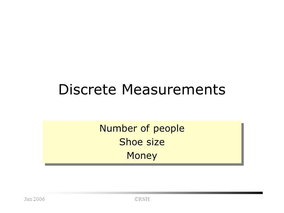 Jan 2006©RSH Discrete Measurements Number of people Shoe size Money Number of people Shoe size Money