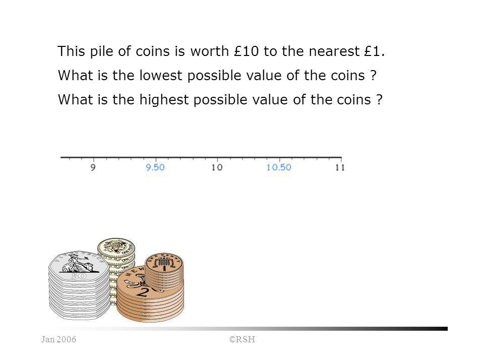 Jan 2006©RSH This pile of coins is worth £10 to the nearest £1. What is the lowest possible value of the coins ? What is the highest possible value of