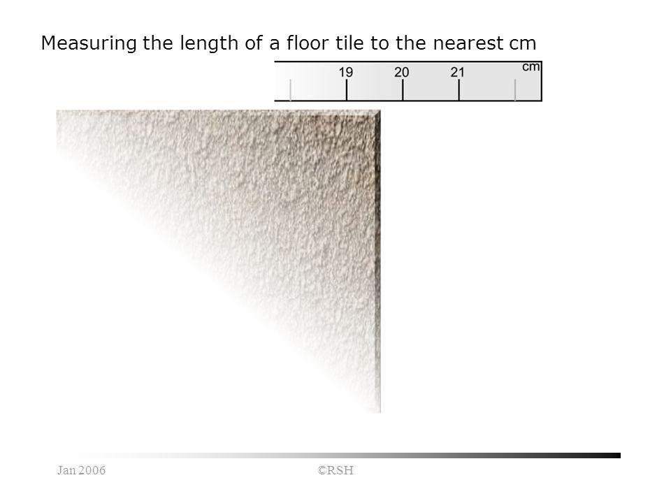 Jan 2006©RSH Measuring the length of a floor tile to the nearest cm