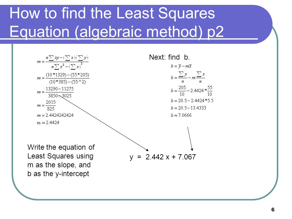 6 How to find the Least Squares Equation (algebraic method) p2 Next: find b.