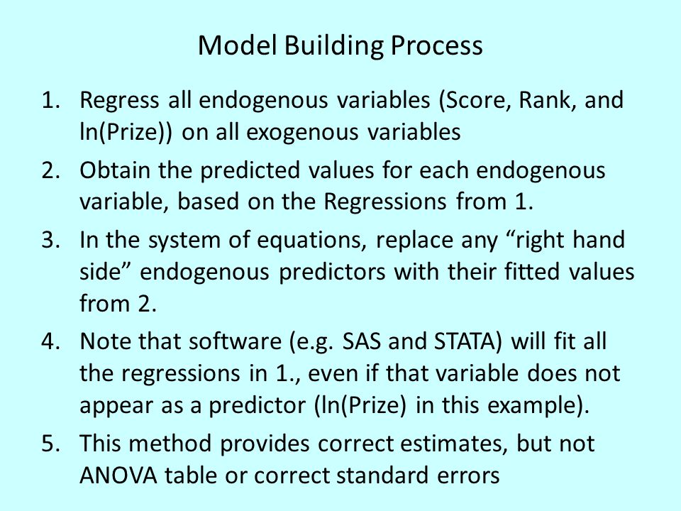 First Stage Regressions for Score and Rank The fitted (predicted) values for SCORE will be used in equation 2 in place of SCORE, and the fitted values for RANK in equation 3.
