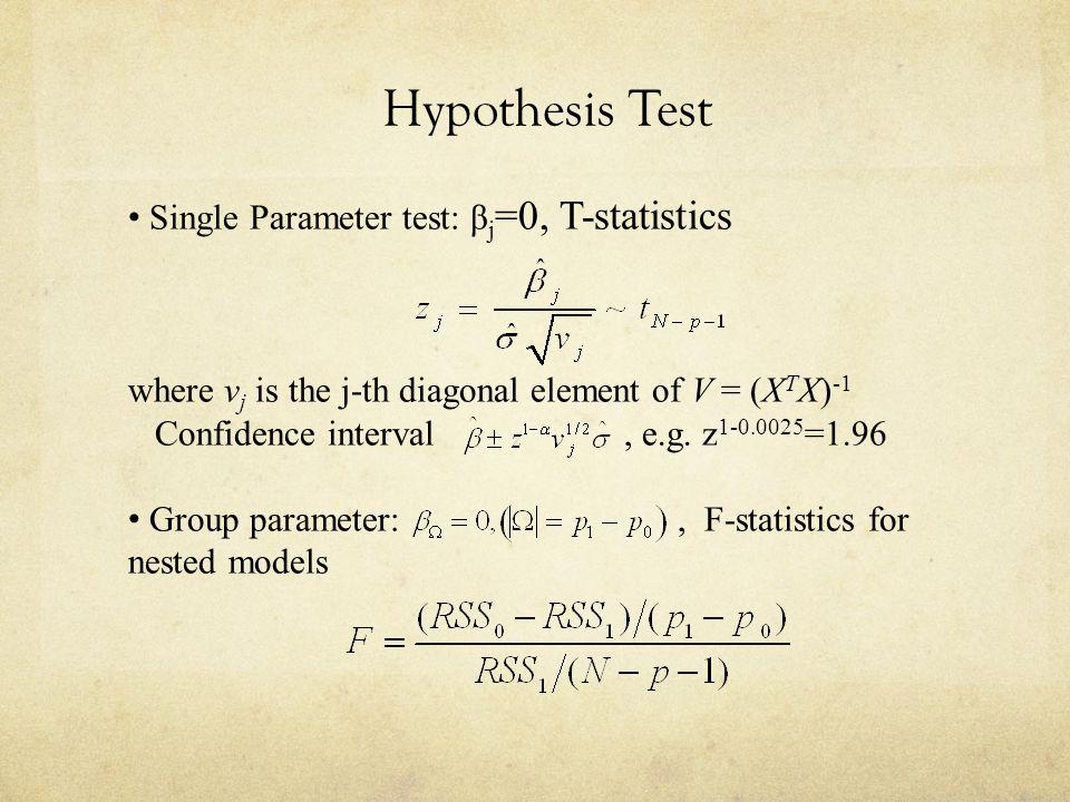 Hypothesis Test Single Parameter test: β j =0, T-statistics where v j is the j-th diagonal element of V = (X T X) -1 Confidence interval, e.g. z 1-0.0