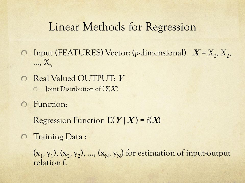 Ridge Regression (cont) The Ridge criterion Shrinkage: For orthogonal inputs, ridge: scaled version of LS estimates Ridge is mean or mode of posterior distribution of under a normal prior Centered input matrix X SVD of X: U and V are orthogonal matrices Columns of U span column space of X Columns of V span row space of X D: a diagonal matrix of singular values Eigen decomposition of The Eigen vectors : principal components directions of X (Karhunen-Loeve direction)