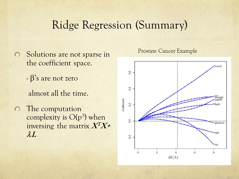 Ridge Regression (Summary) Solutions are not sparse in the coefficient space. -  's are not zero almost all the time. The computation complexity is O