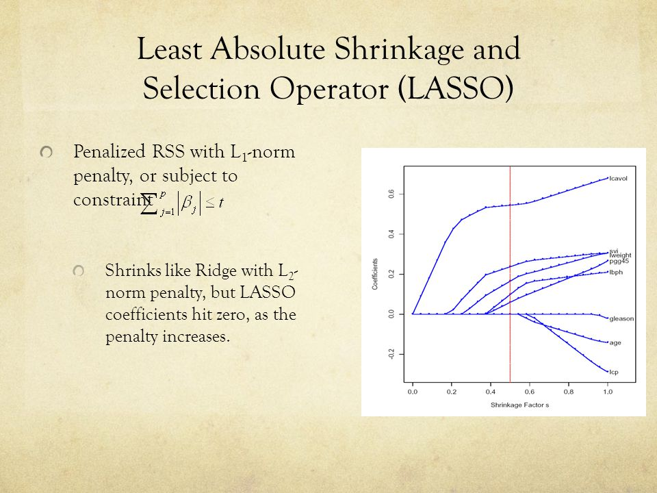 Least Absolute Shrinkage and Selection Operator (LASSO) Penalized RSS with L 1 -norm penalty, or subject to constraint Shrinks like Ridge with L 2 - n