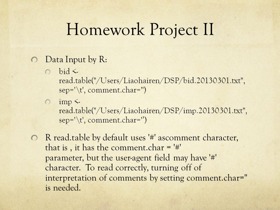 Homework Project II Data Input by R: bid <- read.table(