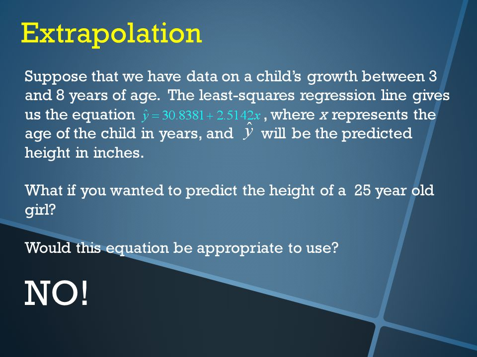Extrapolation Suppose that we have data on a child's growth between 3 and 8 years of age.