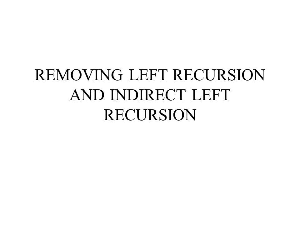 REMOVING LEFT RECURSION AND INDIRECT LEFT RECURSION