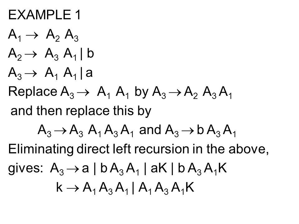 EXAMPLE 1 A 1  A 2 A 3 A 2  A 3 A 1 | b A 3  A 1 A 1 | a Replace A 3  A 1 A 1 by A 3  A 2 A 3 A 1 and then replace this by A 3  A 3 A 1 A 3 A 1