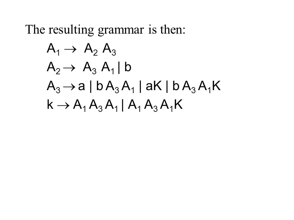 The resulting grammar is then: A 1  A 2 A 3 A 2  A 3 A 1 | b A 3  a | b A 3 A 1 | aK | b A 3 A 1 K k  A 1 A 3 A 1 | A 1 A 3 A 1 K
