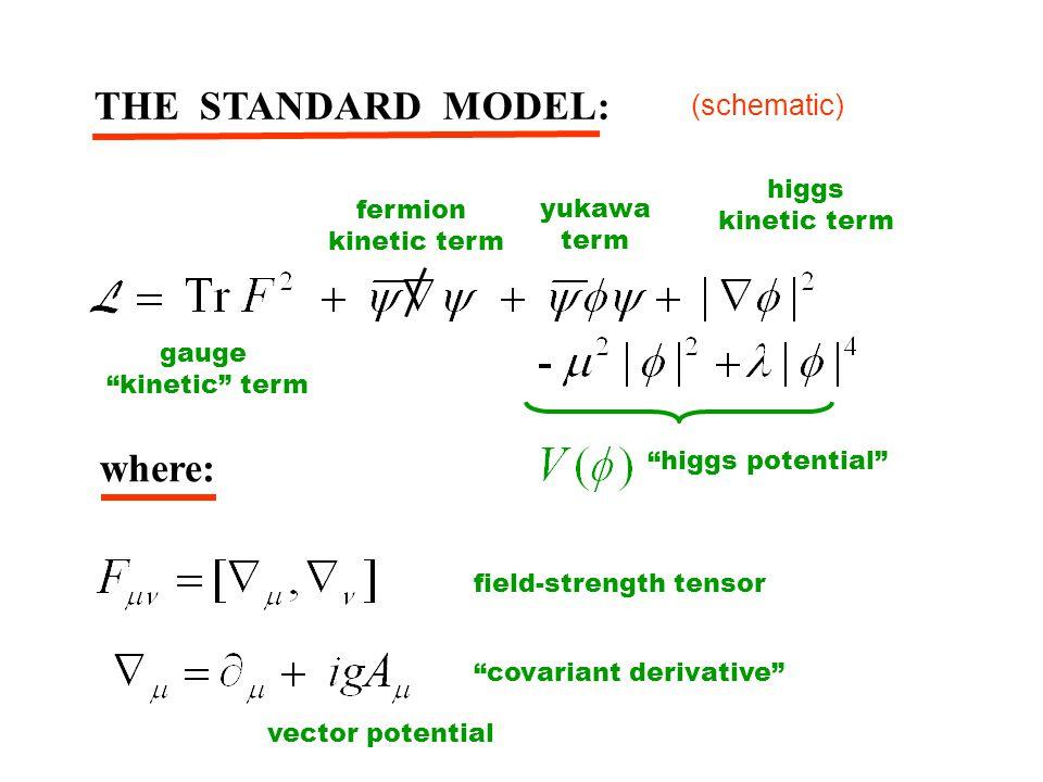 "THE STANDARD MODEL: ""higgs potential"" fermion kinetic term gauge ""kinetic"" term yukawa term higgs kinetic term where: ""covariant derivative"" field-str"