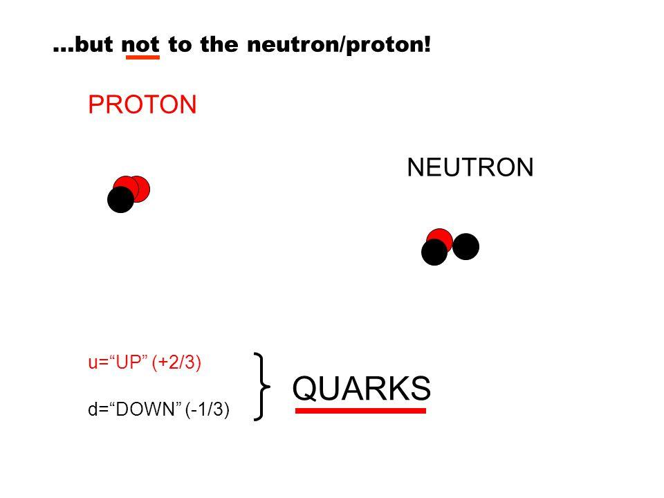 """u=""""UP"""" (+2/3) PROTON NEUTRON d=""""DOWN"""" (-1/3) QUARKS …but not to the neutron/proton!"""