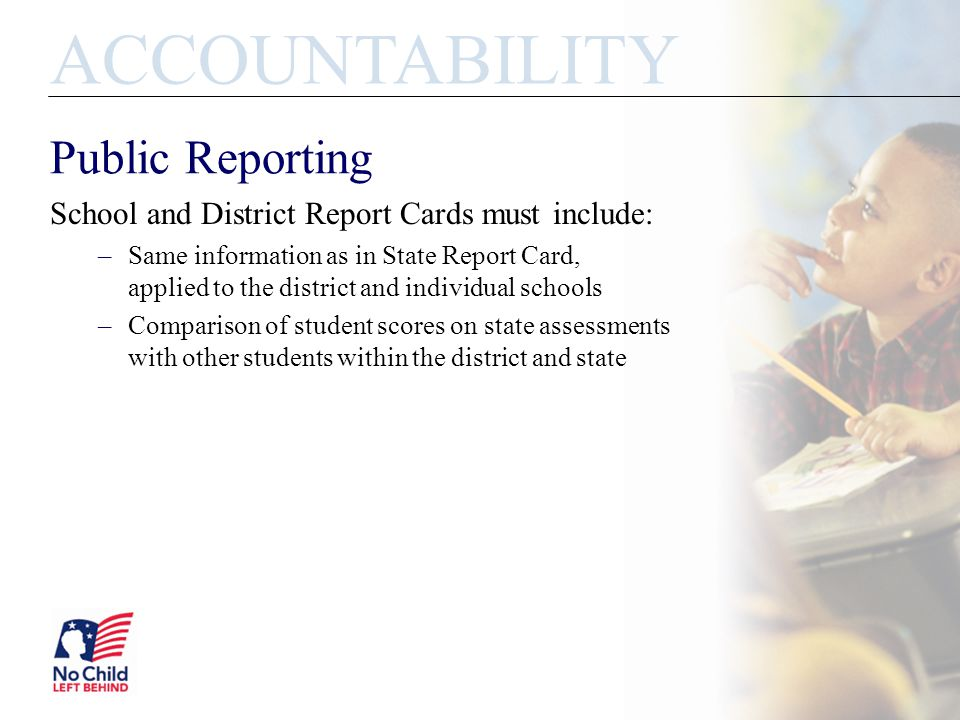 Public Reporting ACCOUNTABILITY School and District Report Cards must include: –Same information as in State Report Card, applied to the district and