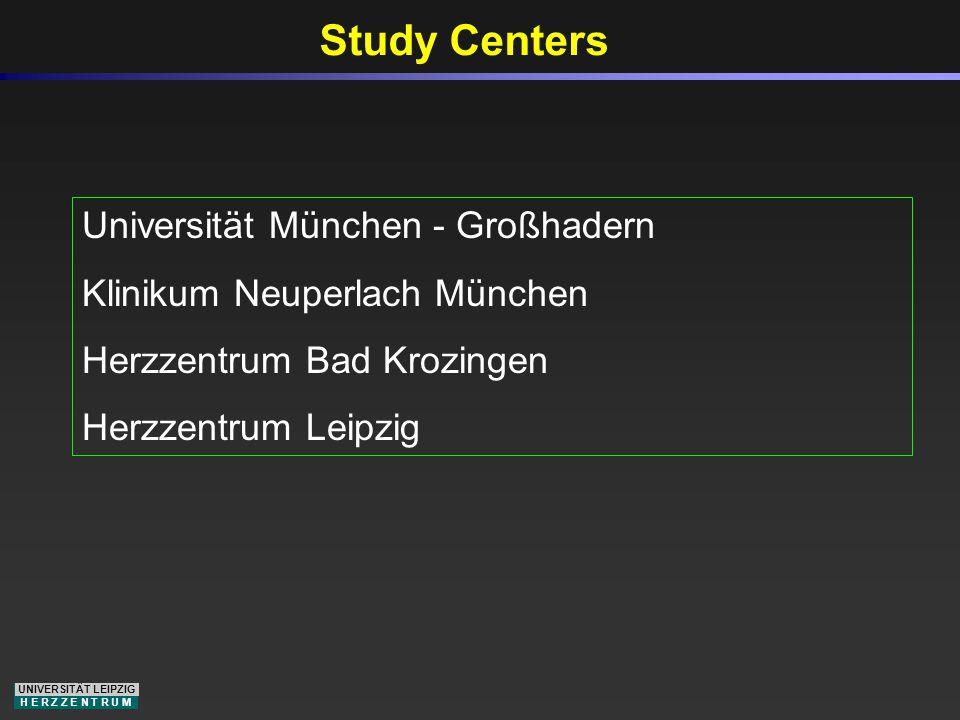 UNIVERSITÄT LEIPZIG H E R Z Z E N T R U M Study Centers Universität München - Großhadern Klinikum Neuperlach München Herzzentrum Bad Krozingen Herzzen