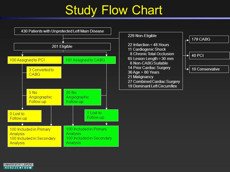 UNIVERSITÄT LEIPZIG H E R Z Z E N T R U M Study Flow Chart 201 Eligible 100 Assigned to PCI101 Assigned to CABG 100 Included in Primary Analysis 100 Included in Secondary Analysis 0 Lost to Follow-up 430 Patients with Unprotected Left Main Disease 229 Non-Eligible 22 Infarction < 48 Hours 11 Cardiogenic Shock 8 Chronic Total Occlusion 65 Lesion Length > 30 mm 6 Non-CABG Suitable 14 Prior Cardiac Surgery 36 Age > 80 Years 21 Malignancy 27 Combined Cardiac Surgery 19 Dominant Left Circumflex 1 Lost to Follow-up 100 Included in Primary Analysis 100 Included in Secondary Analysis 40 PCI 179 CABG 10 Conservative 5 No Angiographic Follow-up 20 No Angiographic Follow-up 3 Converted to CABG