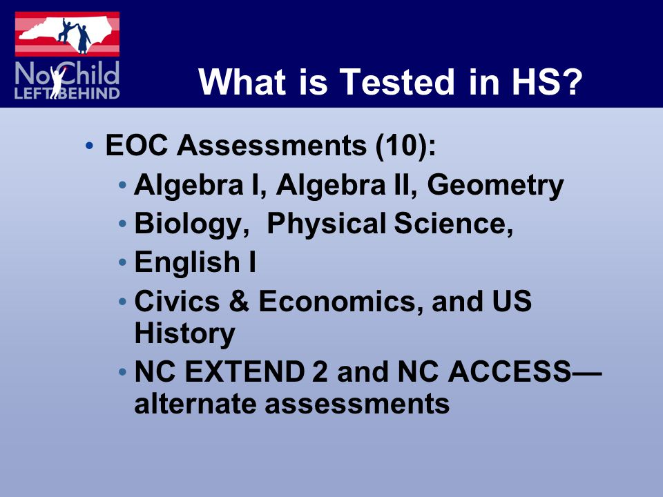What is Tested in HS.