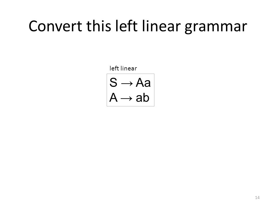 Right hand side has terminals 15 S → Aa A → ab left linear 2) If the left linear grammar has this rule A → p, then add the following rule to the right linear grammar: S → pA S → abA right linear