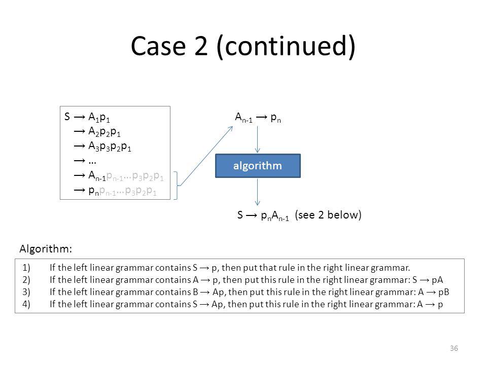 Case 2 (concluded) S → A 1 p 1 A 1 → A 2 p 2 A 2 → A 3 p 3 … A n-1 → p n algorithm A 1 → p 1 A 2 → p 2 A 1 A 3 → p 3 A 2 … A n-1 → p n-1 A n-2 S → p n A n-1 From S we obtain p n …p 2 p 1 : S → p n A n-1 → p n p n-1 A n-2 → … → p n p n-1 …p 3 A 2 → p n p n-1 …p 3 p 2 A 1 → p n …p 3 p n-1 p 2 p 1 (this is the desired string, p) 37