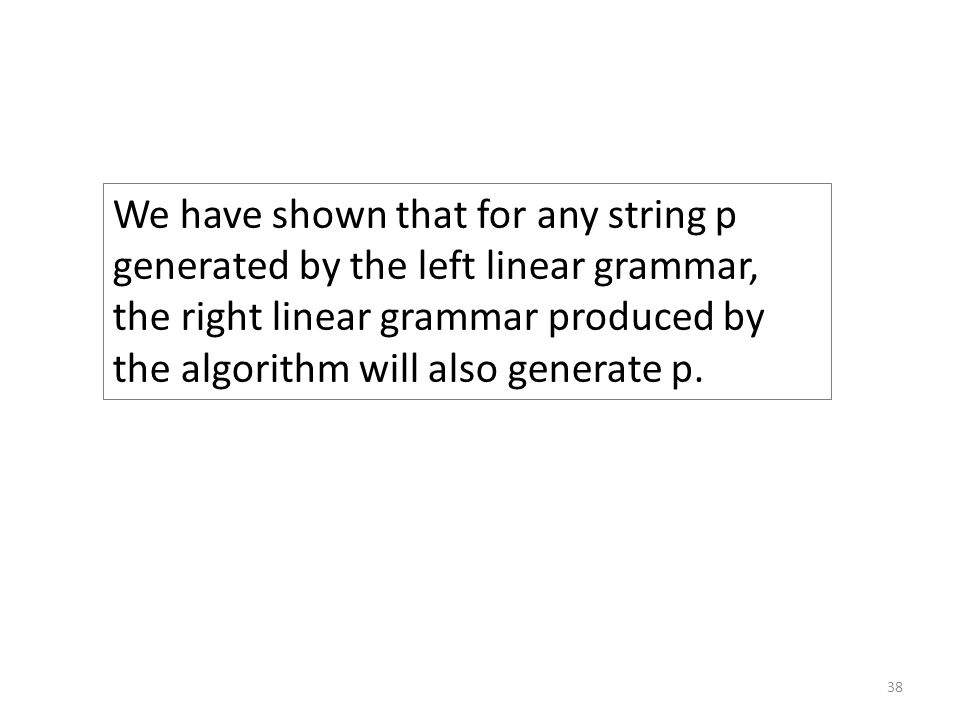 How we understand the algorithm S → A 1 p 1 A 1 → A 2 p 2 A 2 → A 3 p 3 … A n-1 → p n algorithm A 1 → p 1 A 2 → p 2 A 1 A 3 → p 3 A 2 … A n-1 → p n-1 A n-2 S → p n A n-1 These rules descend through the non-terminals until reaching a rule with terminals on the RHS, the terminals are output, then we unwind from the descent and output the terminals.