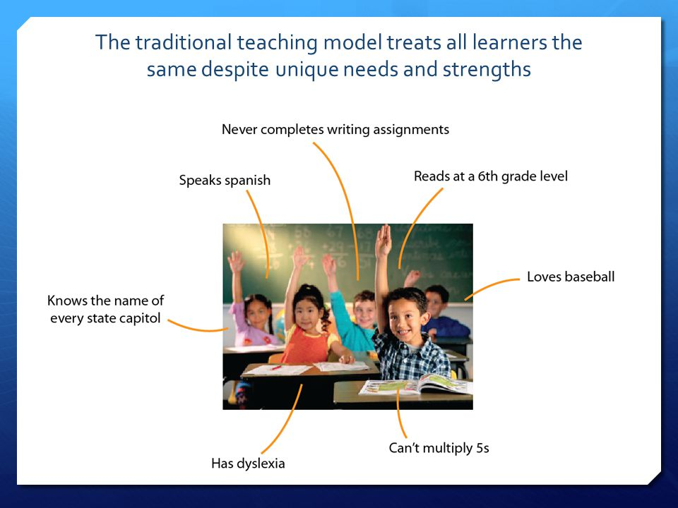 The traditional teaching model treats all learners the same despite unique needs and strengths