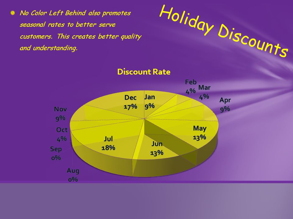 No Color Left Behind also promotes seasonal rates to better serve customers.