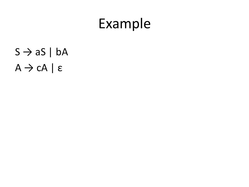 Example (continued) The Right Linear grammar with the rules A → Ba reversed is C → cB B → bA A → a and it produces the reverse language.