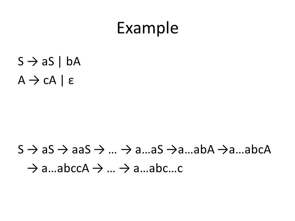 Example S → aS | bA A → cA | ε This grammar produces the language L(a * bc * ) S → aS → aaS → … → a…aS →a…abA →a…abcA → a…abccA → … → a…abc…c
